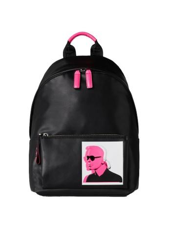 KARL LAGERFELD black Karl Legend Leather Backpack 79C6BAC229D8BAGS_1