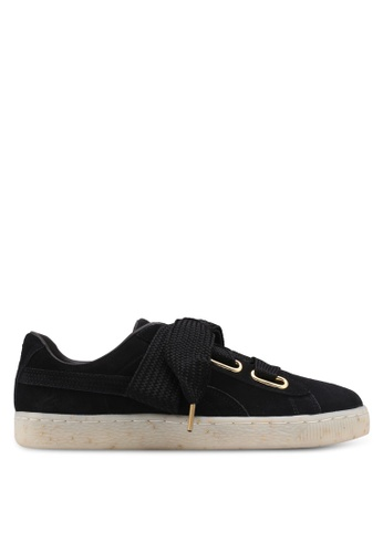 Puma black Suede Heart Fabulous Shoes PU549SH0SWF0MY_1