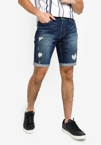 Hollister blue Destroy Denim Shorts 4086CAA7A21D1EGS_1