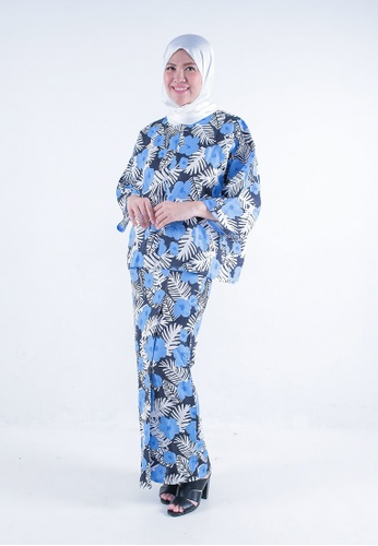 Kaftan Kedah Veronica from Secretcode in Black and White and Blue