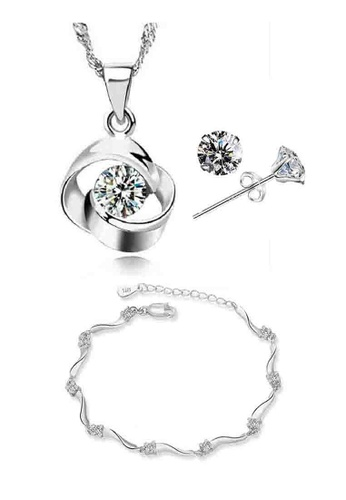 YOUNIQ silver YOUNIQ Hana 925 Sterling Silver Necklace Pendant with Cubic Zirconia, Earrings and Bracelet Set YO999AC51KZCMY_1