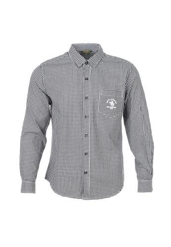 Santa Barbara Polo & Racquet Club black and white and multi SBPRC Long Sleeve Shirt 05-9402-80 9254FAAD4AAA14GS_1