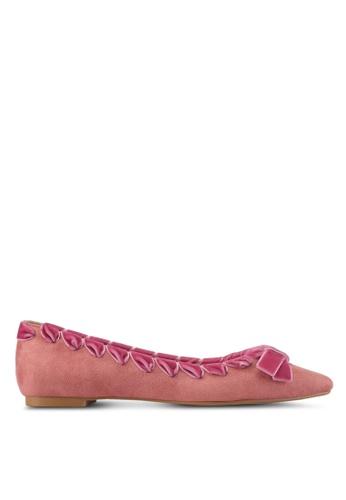 Velvet pink Velvet Trim Ballet Flats F92A5SH48CB294GS_1