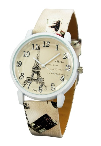 World of Watches beige FHL Eiffel Dream Women's Leather Strap Watch F-367 WO566AC93IWCPH_1