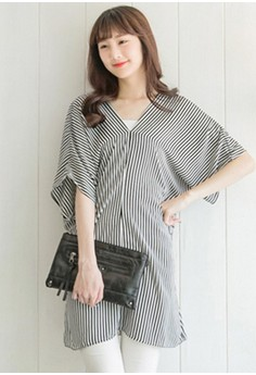 [IMPORTED] Nautically Striped Sheer Chiffon Top - Black