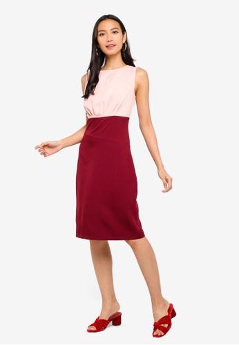 ZALORA red and pink Asymmetrical Waist Sheath Dress 4CD39AAC5DB2BFGS_1