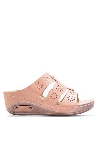 Spiffy 褐色 雕花鞋帶舒適楔型鞋 SP352SH19BHCMY_1