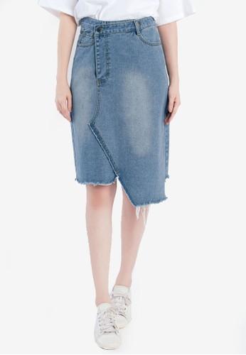 Tokichoi blue Asymmetrical Midi Denim Skirt with Raw Hem 31B53AA95EE4A8GS_1
