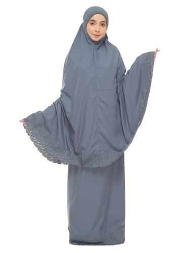 SITI KHADIJAH blue Siti Khadijah Telekung Signature Tiara in Ash Blue 02BC5AA986698CGS_1