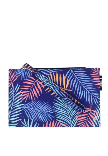 Ripples blue Ripples Tropical Leaves Essential Flat Pouch 7145EACB741CB2GS_1