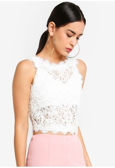 0880fef9e38cd Psst... we have already received your request. MISSGUIDED. Cornelli Lace  Sleeveless Crop Top