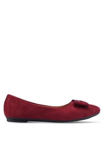 Noveni red Round Toe Flats With Bow FA042SHC133F14GS_1