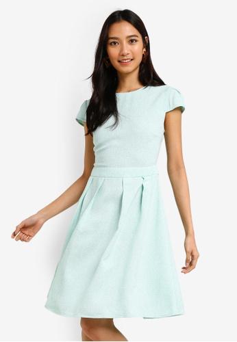 ZALORA 綠色 褶飾喇叭裙洋裝 4A3BCAAC24B728GS_1