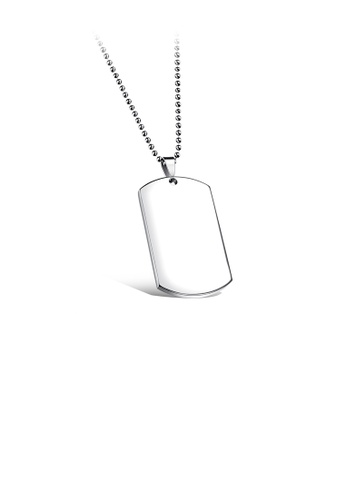 Glamorousky silver Simple Fashion Geometric 316L Stainless Steel Large Pendant 30mm Thick with Round Bead Necklace 53040AC9785202GS_1