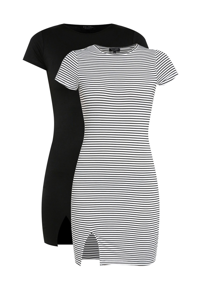 BASICS pack Bodycon ZALORA Dress Stripe Sleeves Short 2 Black Black White Basic with I0OdqxIwH