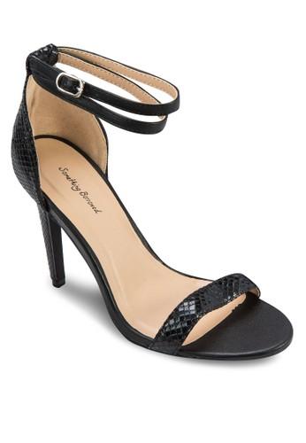 Textured Doublesprit 童裝e Wrap Strappy Heel Sandals, 女鞋, 鞋
