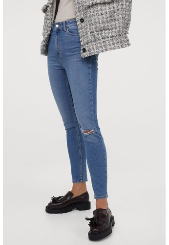 H&M blue Skinny High Jeans 86AD3AAC3A9ED1GS_1