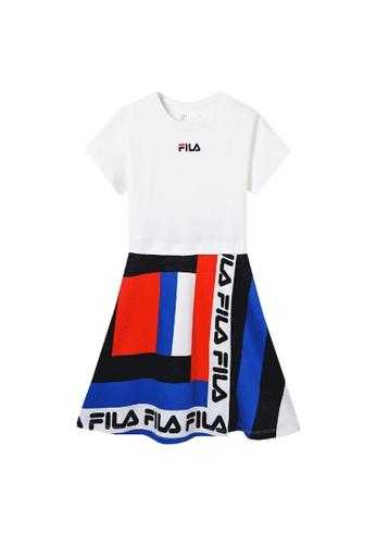 FILA white FILA KIDS FILA Logo Colour Blocks Cotton Dress 8-16yrs 1CFFBKA46FFAA8GS_1