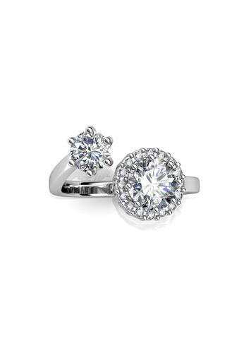 Her Jewellery silver Swarovski® Crystals - Carla Ring  (18K White Gold Plated) Her Jewellery HE581AC0RC0NMY_1