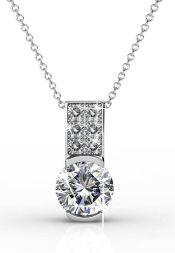 Her Jewellery silver Swarovski® Crystals - Simply Pendant (18K White Gold Plated) Her Jewellery HE581AC0RAD0MY_1