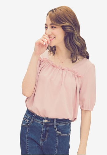 Yoco pink Buttoned Up Square Neck Blouse C08AEAAF82CC01GS_1