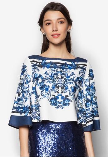 花卉印花船領短版長袖衫, 服esprit 工作飾, 服飾