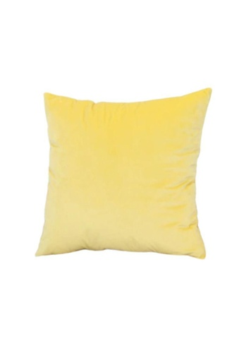 DILAS HOME Basic Velvet Cushion Cover (Yellow) BE1BAHLFC17745GS_1