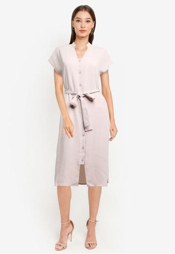 ZALORA WORK beige Button Down Detail Dress AD61DAA1EECE41GS_1