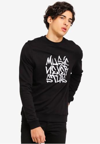 OVS black Cotton Sweatshirt With Embroidery 48E25AA3C57F10GS_1