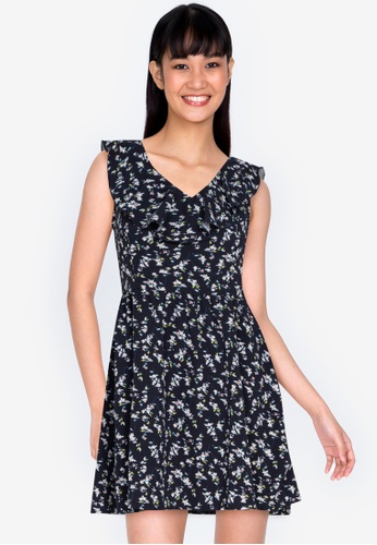 ZALORA BASICS multi V-Neck Ruffle Mini Dress 43665AABAA7B94GS_1