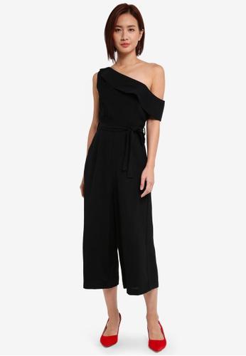 ZALORA black Asymmetrical Culotte Jumpsuit 57456AAA01A802GS_1