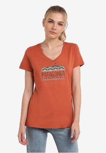 Patagonia brown Femme Fitz Roy V-Neck T-Shirt PA549AA0RQFLMY_1