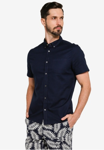 Burton Menswear London 海軍藍色 素色短袖口袋襯衫 62C4BAA2CF61D6GS_1