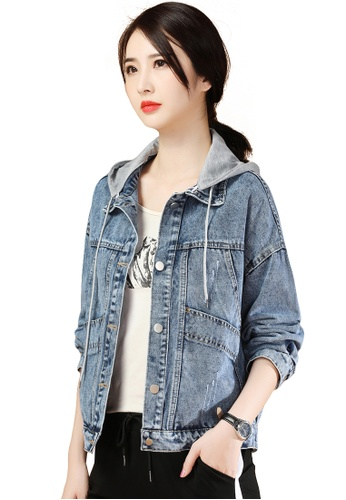 A-IN GIRLS grey and blue Stitched Panelled Hooded Denim Jacket BB168AA9B1D9D1GS_1
