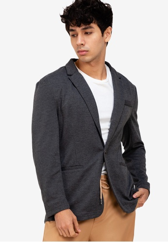ZALORA BASICS grey Knitted Blazer F5107AACA551BBGS_1