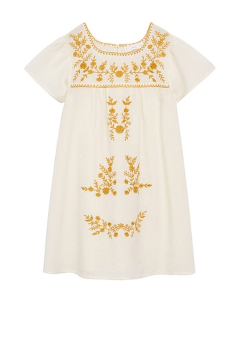 MANGO KIDS white Cotton Linen Embroidered Dress 77B49KA96BFAF0GS_1