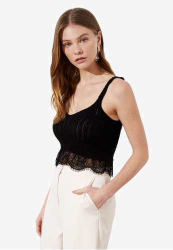 Trendyol black Knitted Lace Detail Crop Top 7DC21AAFA8433EGS_1