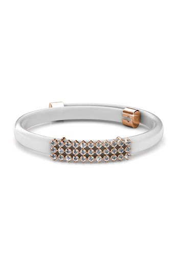 Her Jewellery white Jamie Leather Bracelet (White) - Licensed Genuine Crystals from Swarovski® HE581AC0RVEZMY_1