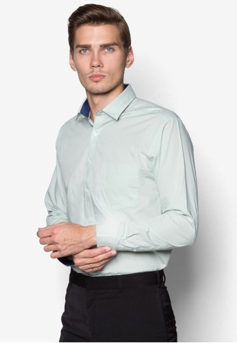 素色修身長袖襯衫, zalora 包包 ptt服飾, 服飾
