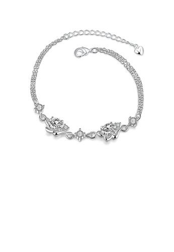 Glamorousky white Fashion Elegant Textured Bracelet with White Cubic Zircon 790C6AC958F219GS_1