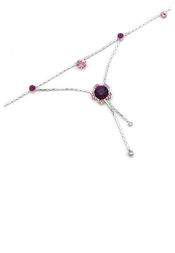 Glamorousky purple Flower Anklet with Purple Austrian Element Crystals 672F5AC4059267GS_1