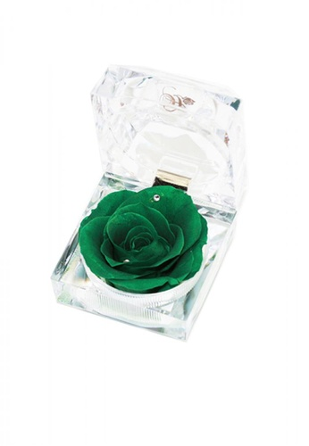 Her Jewellery green Everlasting Preserved Rose - Rose in Ring Box (May, Emerald) 4E6B0HL6CA3C0DGS_1