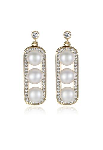 SUNRAIS gold High-grade color stone golden fashion earrings C1BCEACA2E0F81GS_1