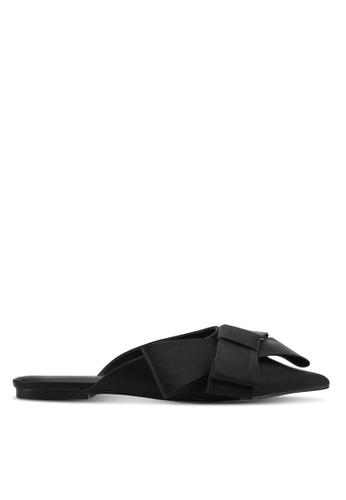 Something Borrowed 黑色 蝴蝶結交叉平底拖鞋穆勒鞋 20574ZZ114129AGS_1