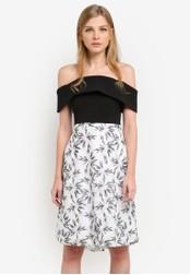 Vesper black and white Nettie Embroidered Full Skirt Dress VE733AA0S78SMY_1