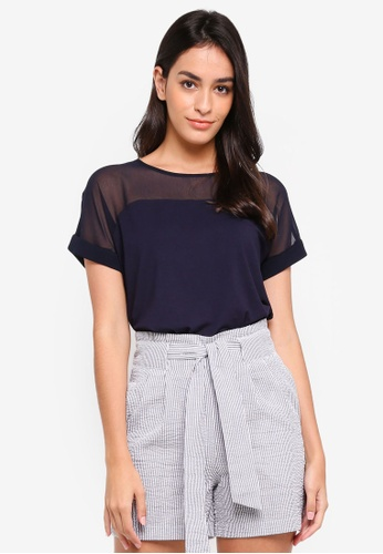WAREHOUSE navy Sheer Panel Short Sleeve Top 5B118AABFED8F1GS_1