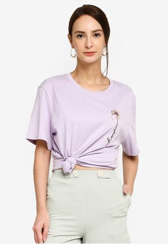 Hopeshow purple Rose Graphic Round Neck Chic T-Shirt E7D47AAF6B1F0EGS_1