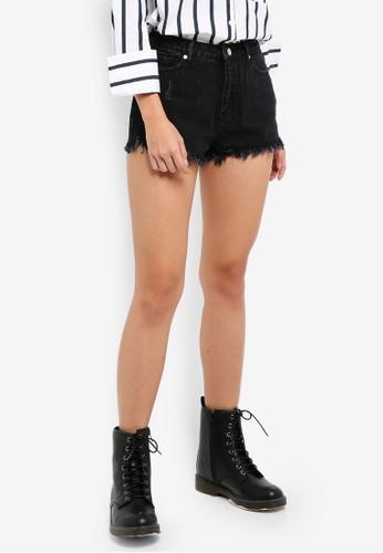 MISSGUIDED black Highwaisted Extreme Fray Hem Denim Shorts 5A41FAA14FD7A9GS_1