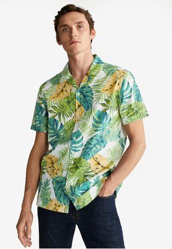 Mango Man white Hawaiian Printed Shirt 3D3F3AA5431F90GS_1