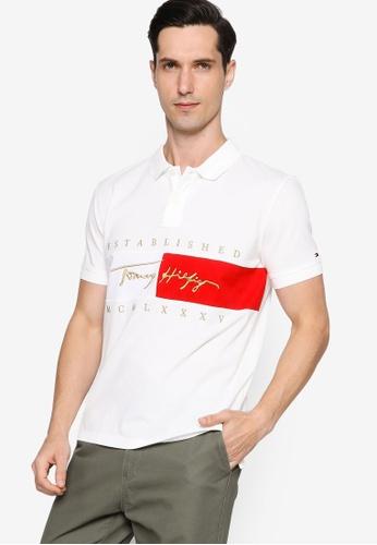 Tommy Hilfiger white Flag Signature Regular Polo Shirt 1A8F6AAEBCFFF3GS_1